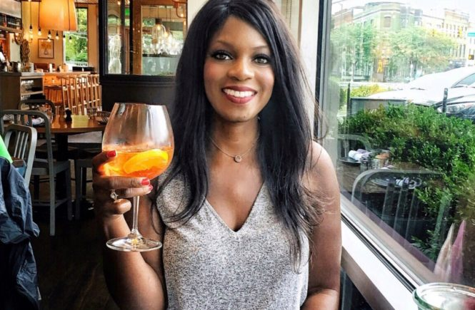 Lakisha Johnson - Drinking an Aperol Spritz at Hedge Row