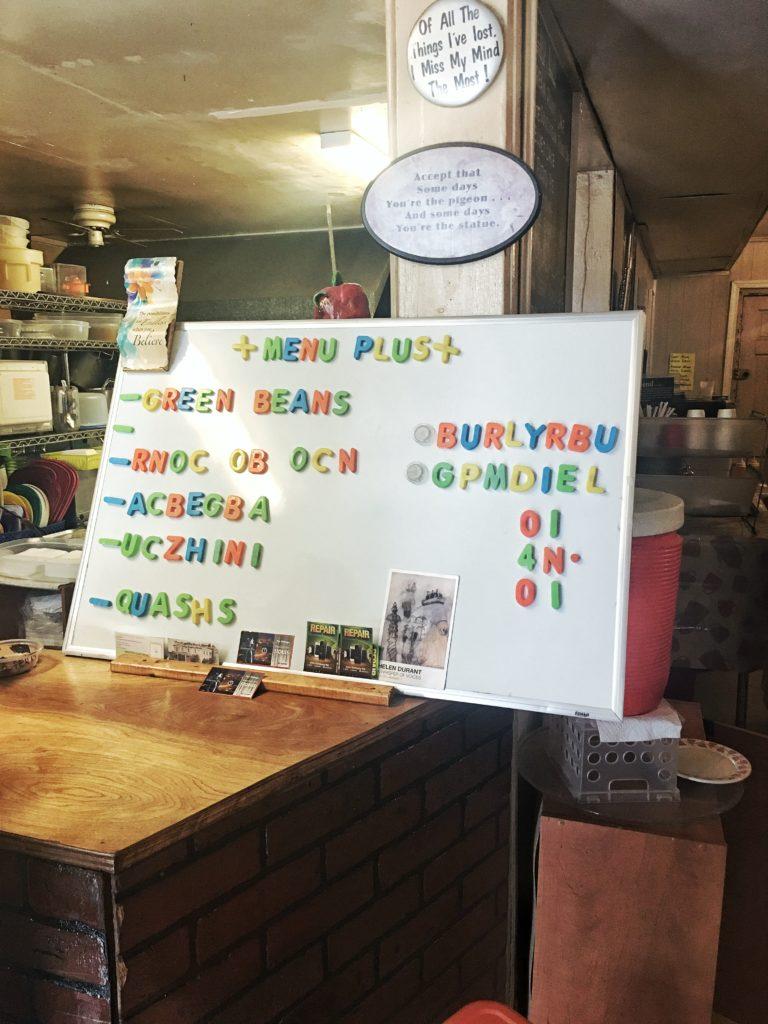 Scrambled menu items sign