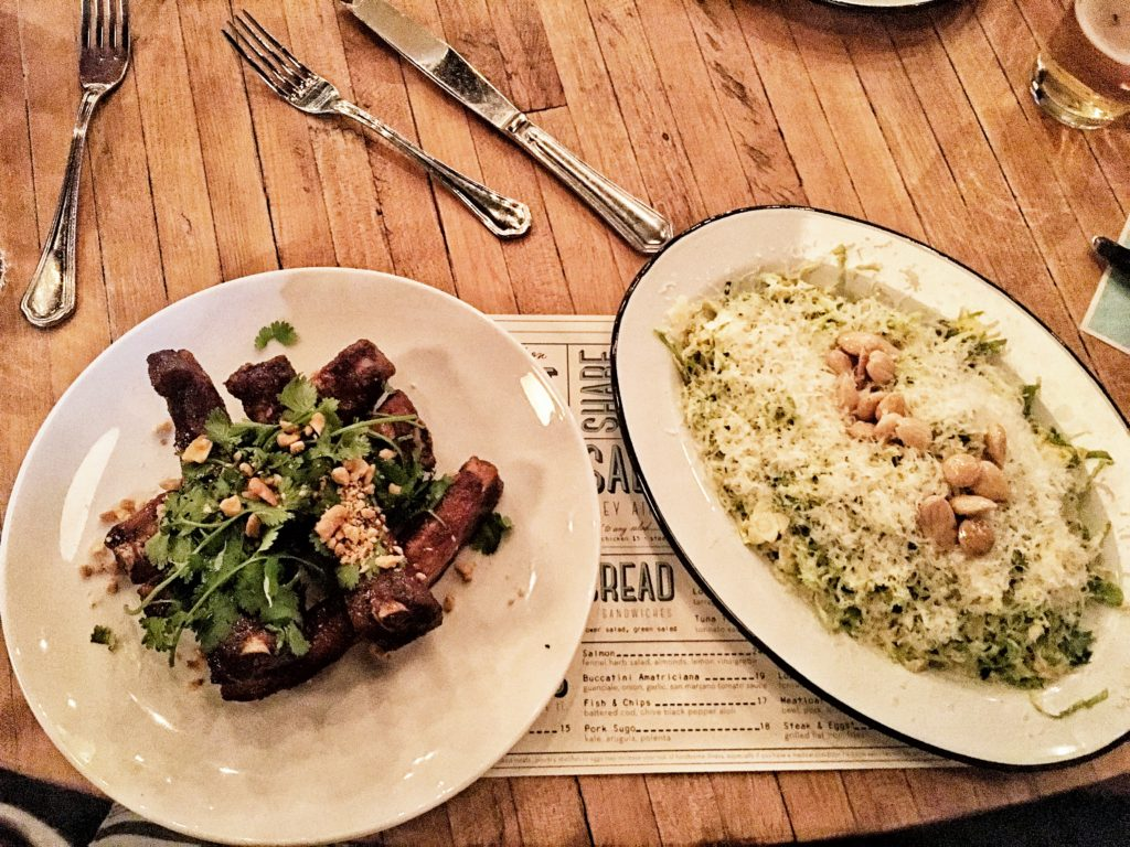 Shaved Brussels salad and Pork Spare Ribs